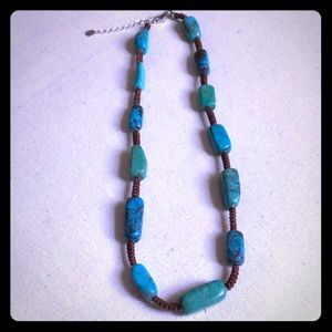 Jewelry - Turquoise Necklace with Brown Cord